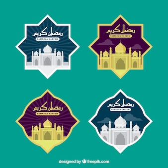 Elegante verzameling ramadan-labels