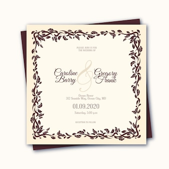 Elegante vintage bruiloft uitnodiging sjabloon