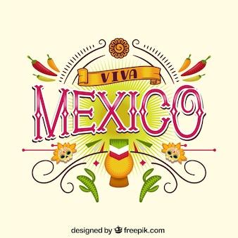 Elegante viva mexico belettering achtergrond