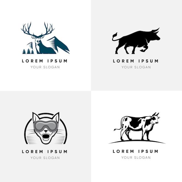 Elegante vlakke dieren-logo set