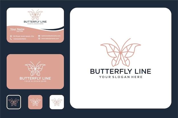 Elegante vlinder met lijntekeningen logo-ontwerp en visitekaartje