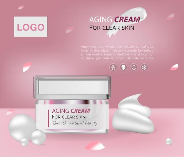 Elegante vochtinbrengende cosmetische producten en luxe lichtrode achtergrond met zalfpotje aan