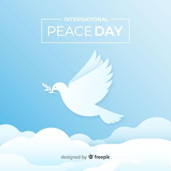 Elegante vredesdag achtergrond met witte duif