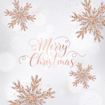 Elegante vrolijke kerstkaart met roségouden glittersneeuwvlokken voor uitnodiging, groeten of flyer en nieuwjaarsbrochure 2019