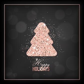Elegante vrolijke kerstkaart met roségouden glittersterren voor uitnodiging of groeten of flyer en nieuwjaarsbrochure 2019