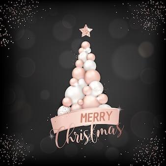 Elegante vrolijke kerstkaart met roségouden kerstboomballen voor uitnodiging, groeten of flyer en nieuwjaarsbrochure 2019