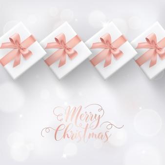Elegante vrolijke kerstkaart met roségouden kerstcadeaus en cadeaus voor uitnodiging, groeten of flyer en nieuwjaarsbrochure 2019