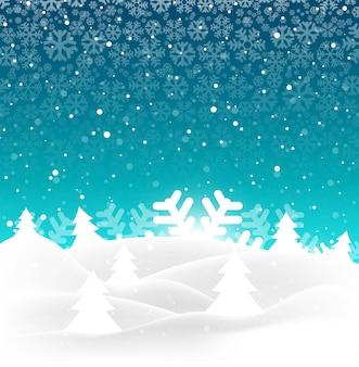 Elegante vrolijke kerstmisboom met sneeuwvlokachtergrond