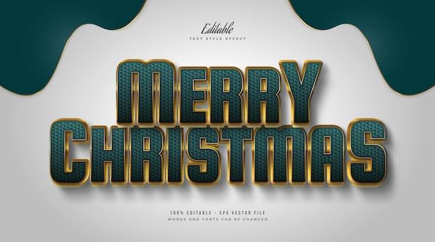 Elegante vrolijke kersttekst in groene en gouden stijl met reliëf en getextureerd effect. bewerkbaar tekststijleffect