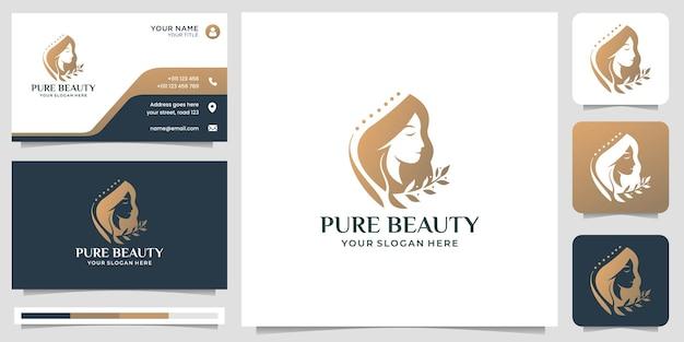 Elegante vrouw gezicht, kapper, schoonheidssalon logo ontwerp met sjabloon voor visitekaartjes.premium vector