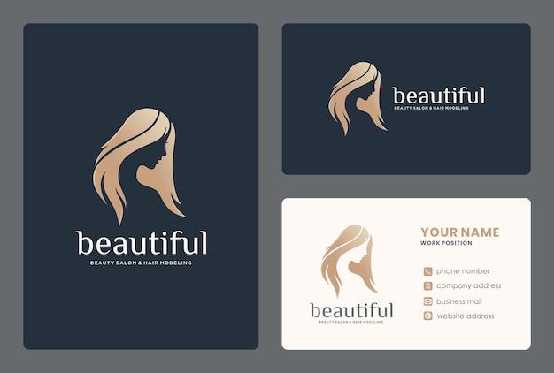 Elegante vrouw gezicht / schoonheid studio logo-ontwerp met sjabloon voor visitekaartjes.
