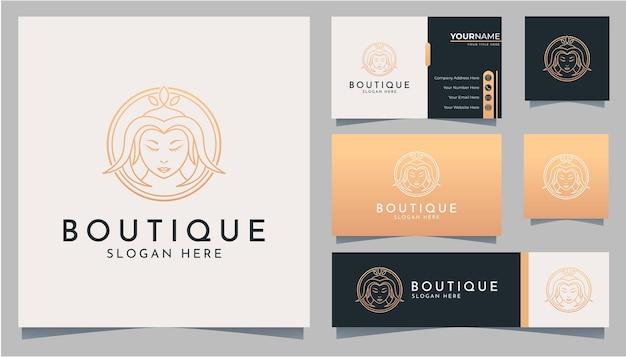 Elegante vrouw hoofdlijn kunst logo en visitekaartje