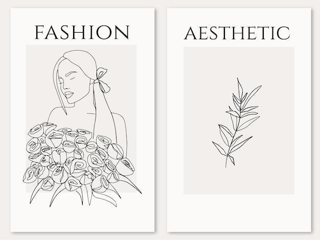 Elegante vrouw met rozenboeketontwerp in trendy lijnkunststijl esthetisch vrouwelijk silhouet