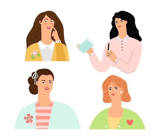 Elegante vrouwen. leuke huisvrouwen, stijlvolle dames avatars vector set