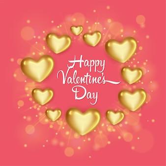 Elegante wenskaart met glanzende gouden harten voor happy valentines day-viering