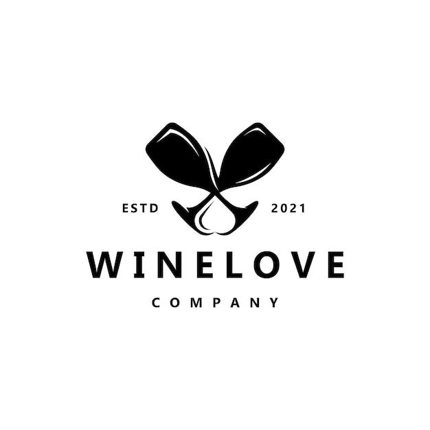 Elegante wijn met liefde logo ontwerp inspiratie