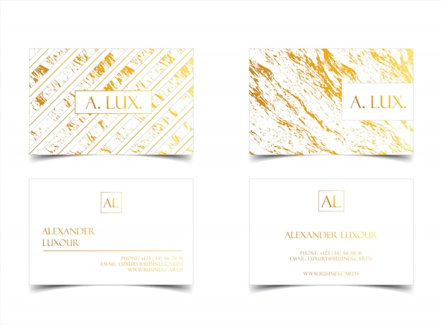 Elegante witte luxe visitekaartjes met marmeren textuur en gouden detail.