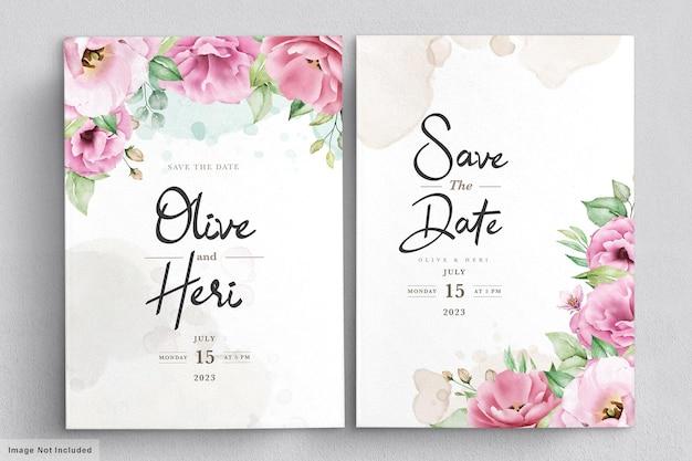 Elegante zachte bloemen bruiloft uitnodiging kaartsjabloon