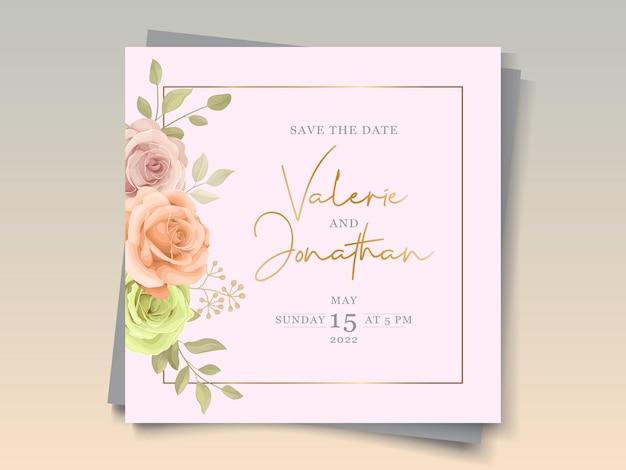 Elegante zachte kleurrijke bloemen bruiloft uitnodigingskaart