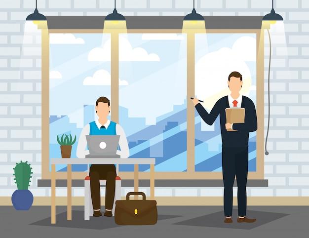 Elegante zakenlieden die met laptop in het bureau werken