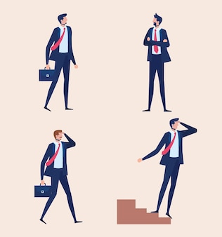 Elegante zakenlieden werknemers permanent tekens vector illustratie ontwerp
