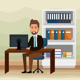 Elegante zakenman in de kantoorscène