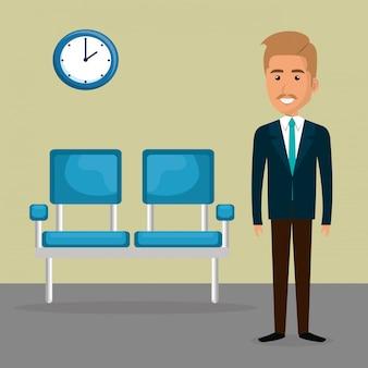Elegante zakenman in de wachtkamer