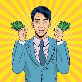 Elegante zakenman met het pop-artstijl van rekeningendollars