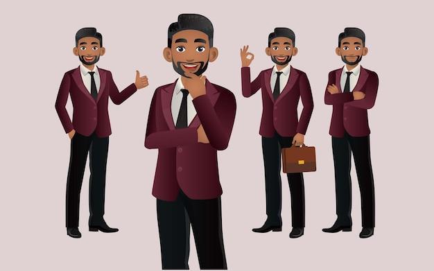 Elegante zakenman met verschillende poses
