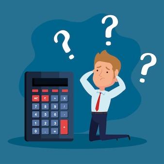 Elegante zakenman nadenkend met rekenmachine