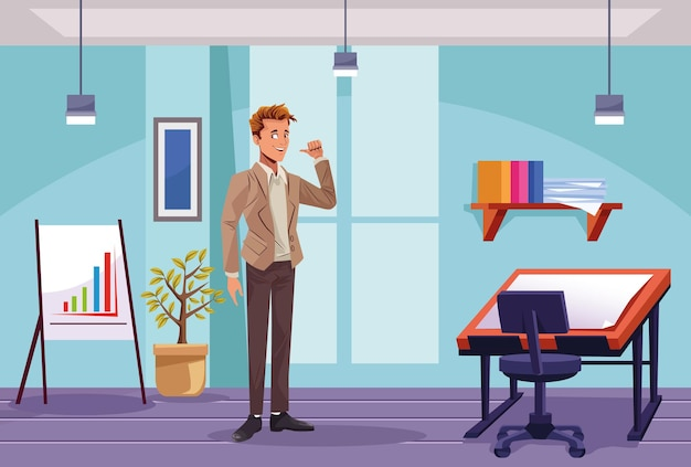 Elegante zakenmanarbeider in de illustratie van de werkplaatsscène