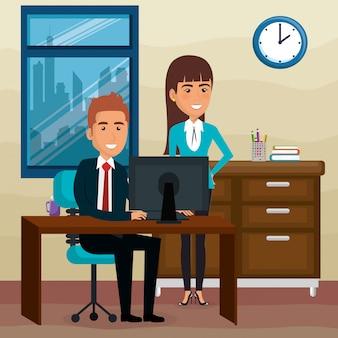 Elegante zakenmensen in de kantoorscene