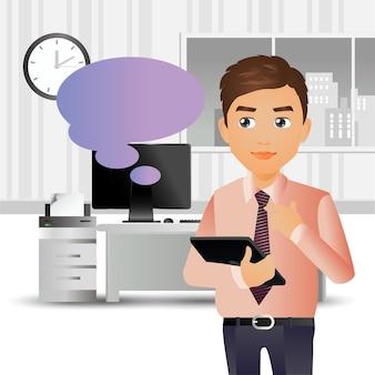 Elegante zakenmensen uit het bedrijfsleven die op kantoor staan en naar de laptop wijzen