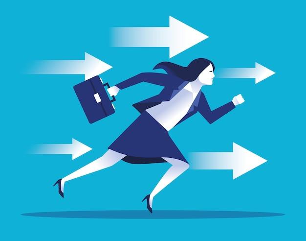 Elegante zakenvrouw werknemer met portefeuille en pijlen illustratie