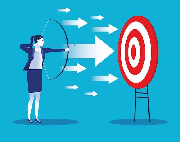 Elegante zakenvrouw werknemer met target en pijlen karakter illustratie