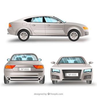 Elegante zilveren auto in verschillende uitzichten