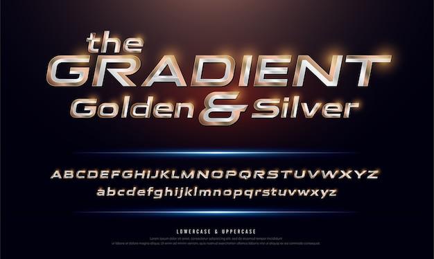 Elegante zilveren en gouden kleurverloop gekleurde metalen chrome-lettertype
