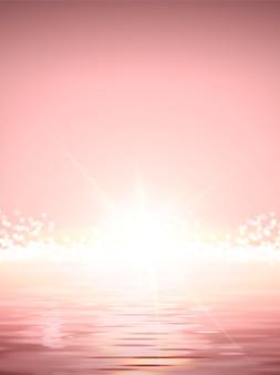 Elegante zon opkomst scène illustratie