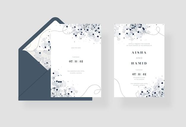 Elegante zwart-wit aquarel bruiloft uitnodiging sjabloon