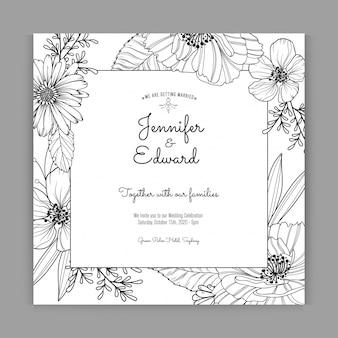 Elegante zwart-witte huwelijksuitnodiging
