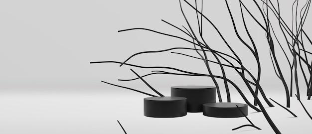 Elegante zwart-witte lege podiumscène