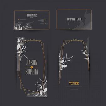 Elegante zwarte en gouden aquarel banner set