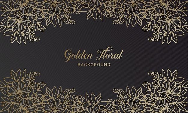 Elegante zwarte en gouden bloemen plant blad hand getrokken achtergrond
