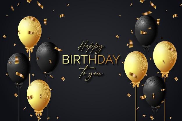 Elegante zwarte en gouden happy birthday-achtergrond met een realistische ballonnenvector