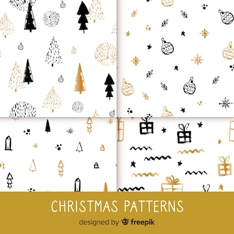 Elegante zwarte en gouden kerst patroon collectie
