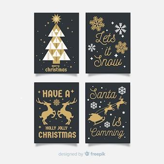 Elegante zwarte en gouden kerstkaartcollectie