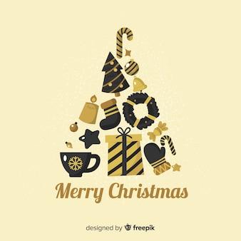 Elegante zwarte en gouden kerstmiselementen