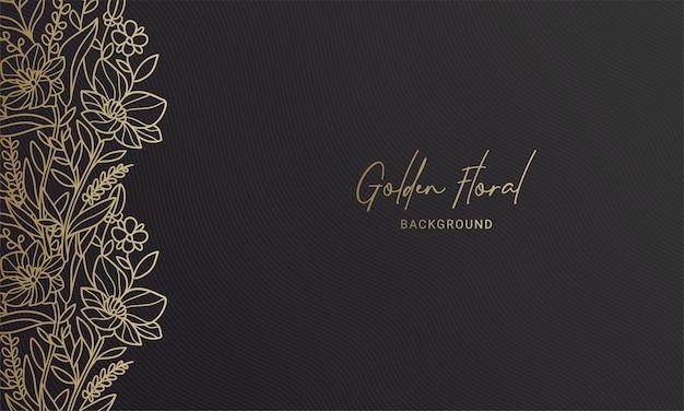 Elegante zwarte en gouden linkerzijde bloemenplant blad handgetekende illustratie