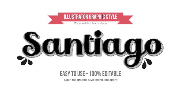 Elegante zwarte retro 3d met lijnen teksteffect
