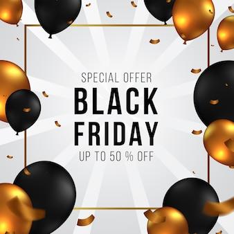 Elegante zwarte vrijdag promotie verkoop aanbieding sjabloon voor spandoek met gouden en zwarte ballon met confetti.
